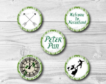 "Peter Pan Cupcake Topper Printable 2"" Cupcake Toppers - Peter Pan Party Printables - Printable Peter Pan - INSTANT DOWNLOAD - Inside Out"