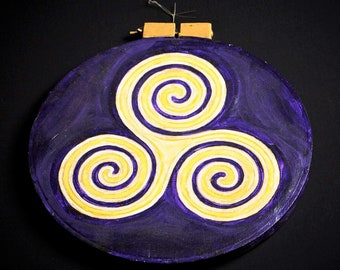 Original Painting Triskele Celtic Knot- Purple