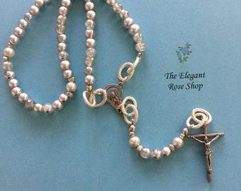 Beautiful Handmade Rosary in Silver Tones