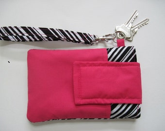 "Hot Pink and Stripes Smartphone Wristlet, Fits iPhone 5 and Smartphones up to 5.25"" x 2.75"", Black and White Stripes with Hot Pink Cotton"