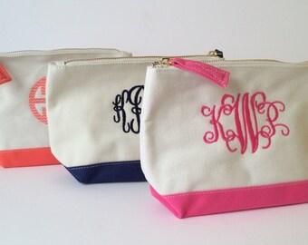 Monogrammed Makeup Bag, Cosmetic Bag, Bridesmaid Cosmetic Bag, Canvas Bag, Personalized Cosmetic Bag, Makeup Bag, Monogram, Zipper Pouch