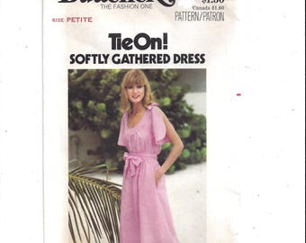 Butterick 5365 Pattern for Misses' Tie On Softly Gathered Dress, Size 6 PETITE, From 1970s, Vintage Pattern, Home Sewing, 1970s Fashion