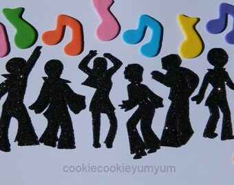 6 dancing edible glitter DISCO PEOPLE & MUSIC notes cake topper 70's dancer cupcake wedding topper decoration wedding anniversary birthday