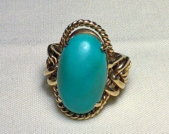 Jose Grant 14K Puzzle Ring custom made with large turquoise stone