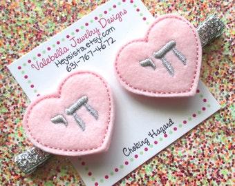 Hair Clip Chai Love Life Hebrew Word Love life Hanukkah symbol girls heart Valentine hair clip 1 CLIP baby girl naming pink silver birthday