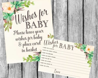 Wishes For Baby Card and Sign Succulent, Printable Wishes for Baby Cards, Wishes For Baby Sign, 4x6, Instant Download. Baby Shower Games
