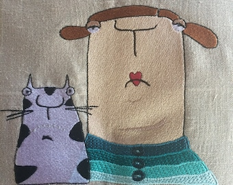 Frau Blau and Ede - A cheerful cat loving Frau - a whimsy character from Kittiekatdesign - Machine Embroidery - Instant Download