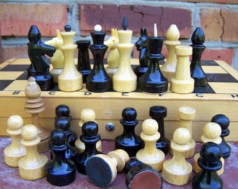 Vintage Wooden Chess set. Soviet chess set. USSR. Soviet Era.