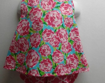 Baby Girl Cross Back  Pinafore With Bloomers  in Sizes New Born - 3T  Shabby Chic, Vintage Roses