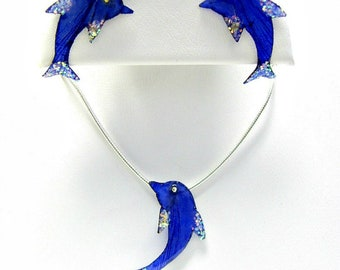 Dolphin Necklace Earring Set Mermaid Beach Jewelry Made with Real Fish Scales TNI11