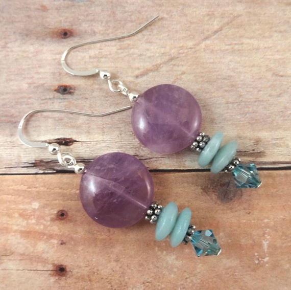 Amethyst, Amazonite and Swarovski Crystal Earrings