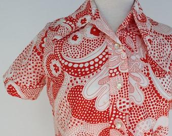 Vintage 60s 70s Retro Shirt Dress /  Red White Short Sleeve / Lady Manhattan