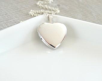 Heart Locket Necklace in Sterling silver Heart Locket Pendant Necklace Silver Heart Locket Little Heart Locket Necklace Personalized Jewelry
