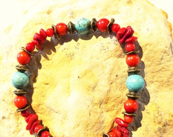 Coral and turquoise Stretch Bracelet