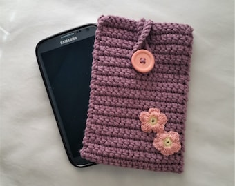 Crochet Phone Caddie, Phone Cozy, Phone Sleeve, Crochet Mobile Phone Cover, Smart Phone Case, iPhone Cover, Samsung Phone Cover(purple/grey)