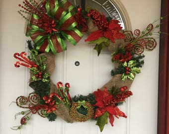Red & Green Christmas Wreath