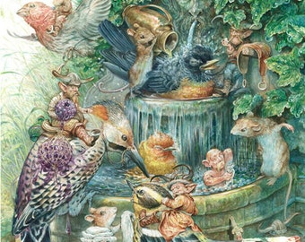 The Birdbath (print) birds, fountain, fairy tale, artwork, bath time, mice, illustration, birdwatchers