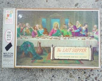 Vintage 60's Milton Bradley The Last Supper 1000 Pc Zigsaw Puzzle
