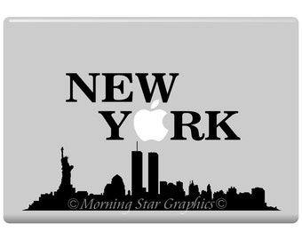 NEW YORK with City Skyline Laptop Decals