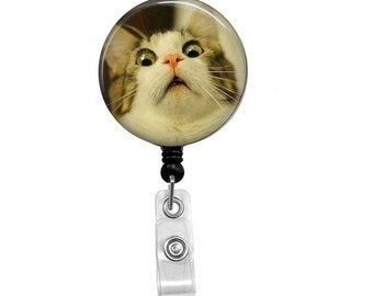 Retractable Badge Reel - Cat ID Badge - Badge Reels - Funny Cat Badge Reel - Funny Badge Reel