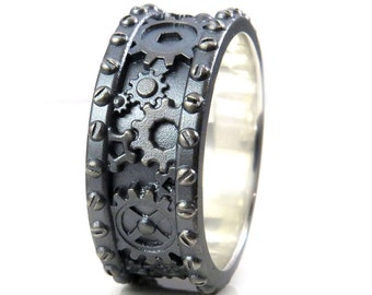 SteamPunk Mens Silver Ring Gears and Rivets Industrial