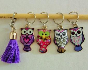 Snag-free Stitch Marker Set Owl Tassal  Charms Removable Markers!