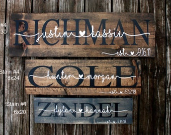 Bridal Shower Gift. Wedding Gift. Last Name Sign. Established Sign. Personalized Wood Signs. Family Name Sign. Housewarming Gift Custom Sign