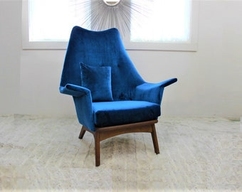 Mid Century Modern Adrian Pearsall Chair Model 1611 C In Blue Velvet