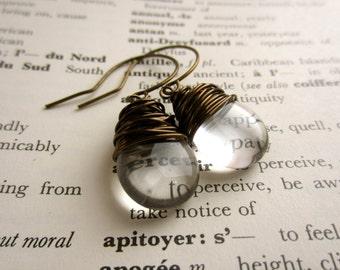 Wire Wrapped Earrings Crystal Czech Glass Tear Drop Earrings Dangle Earrings Bridesmaid Wedding