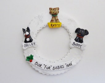 Personalized 3 Custom Pet Christmas Ornament- Personalized Ornament with 3 Dogs - Personalized Ornament with Custom 3 Cats or Dogs