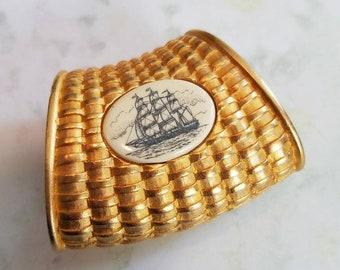 Vintage Faux Scrimshaw Style Gold Tone Scarf Slide Basket Weave Ship 1980s