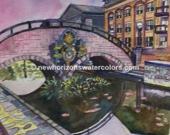 Carroll Street Bridge watercolor painting