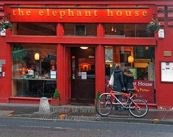 Edinburgh Elephant House Photography - Wall Decor - Fine Art Photography Print - Harry Potter JK Rowling Coffee Shop Red Author
