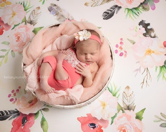 KARSYN Romper Set, Newborn Romper, Romper Set, Newborn Pants, Flower Headband, Newborn Clothing, Photography Prop, Newborn Prop, Photo Props