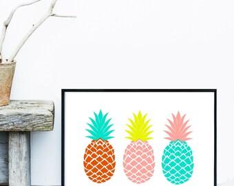 Pineapple Print, Printable Art, Three Pineapples, Pineapple Decor, Wall Decor, Pineapple Wall Art, Digital Download, Tropical Print