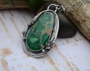 SALE: WAS 339- Damele Turquoise & Cast Succulent Necklace