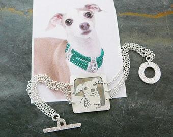 Bracelet, Sterling, Dog Art, Your Pet as a Pendant Bracelet.. Solid Back, Head Shot