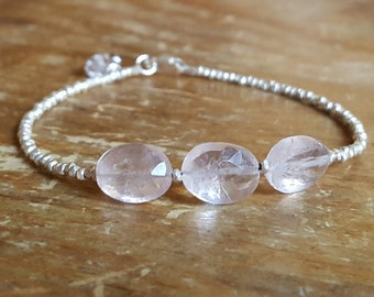 Rose Quartz Bracelet Herkimer Diamond Bracelet Quartz Beaded Bracelets Rose Quartz Bracelets Hill Tribe Silver Bead Bracelet Women Wife Gift