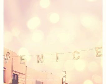 Venice beach photograph, Summer Romance, love, California wall art, Venice Beach print, photo of the Venice sign, pink kids room art, LA art