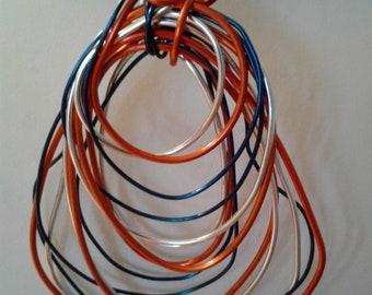 Copper/Blue/Silver Freeform Wire Pendant