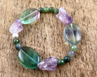 Fluorite Bracelet, Raw Amethyst Bracelet, Boho Bracelet, Moss Agate, Sterling Silver, Green Beaded Bracelet, Gemstone Bracelet