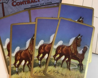 Set of 6 Single Arabian Horse Vintage Playing Cards Swap Cards
