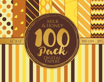 Digital Paper 100 Pack - Milk and Honey - Commercial Use