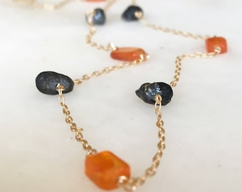 Raw Black Pearls and Carnelian Necklace Choker | Gemstone Necklace | Layering Necklace | Dainty Necklace | Boho Necklace | Choker Necklace