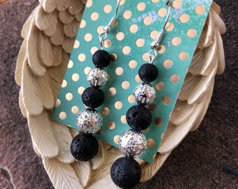 Lava Bead Essential Oil Diffusing Earrings with metal bead accents