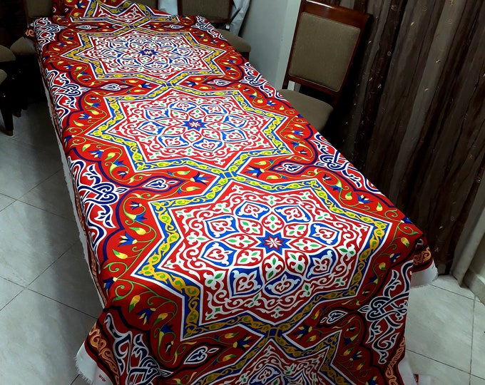 Fabric coupon. Red Star. Egyptian motif. oriental art. DIY for creative arts. interior furnishings. table decoration. width 150