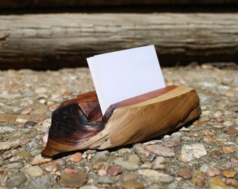 Red cedar business card holder. FREE shipping. Live edge, knotty, and beautiful. Hand rubbed oil finish.