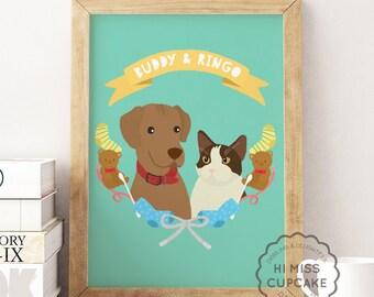 Pet Gift / Pet Portrait Gift / Cat lover Gift / Dog Lover Gift / Dog Portrait / Cat Portrait / Pet Portrait Cat Gift / Gift for Pet Owner