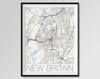 New britain ct map Etsy