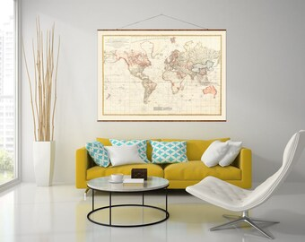 "Chart of the World, 44""x63"", Canvas Map, world map, vintage maps, antique map, map of the world, roll down map, large canvas map"
